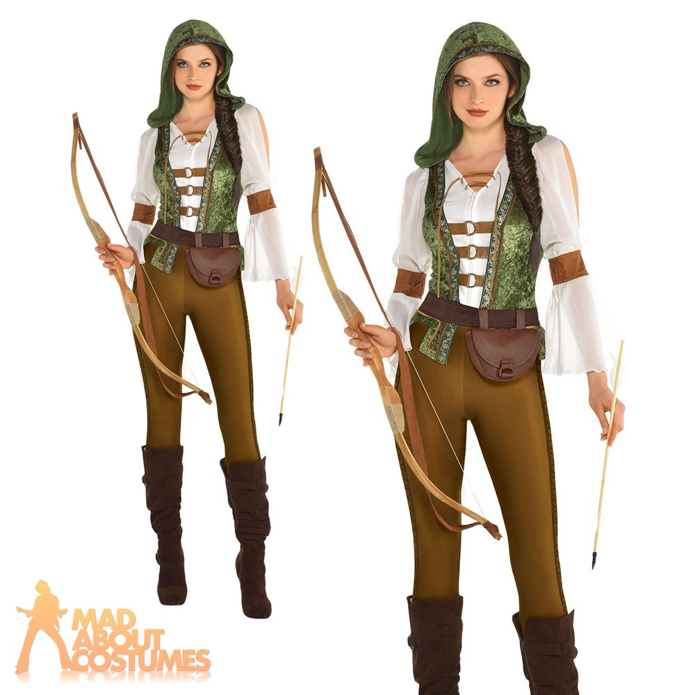 Ladies Robin Hood Costume Adults Archer Fancy Dress Book Day Week Outfit