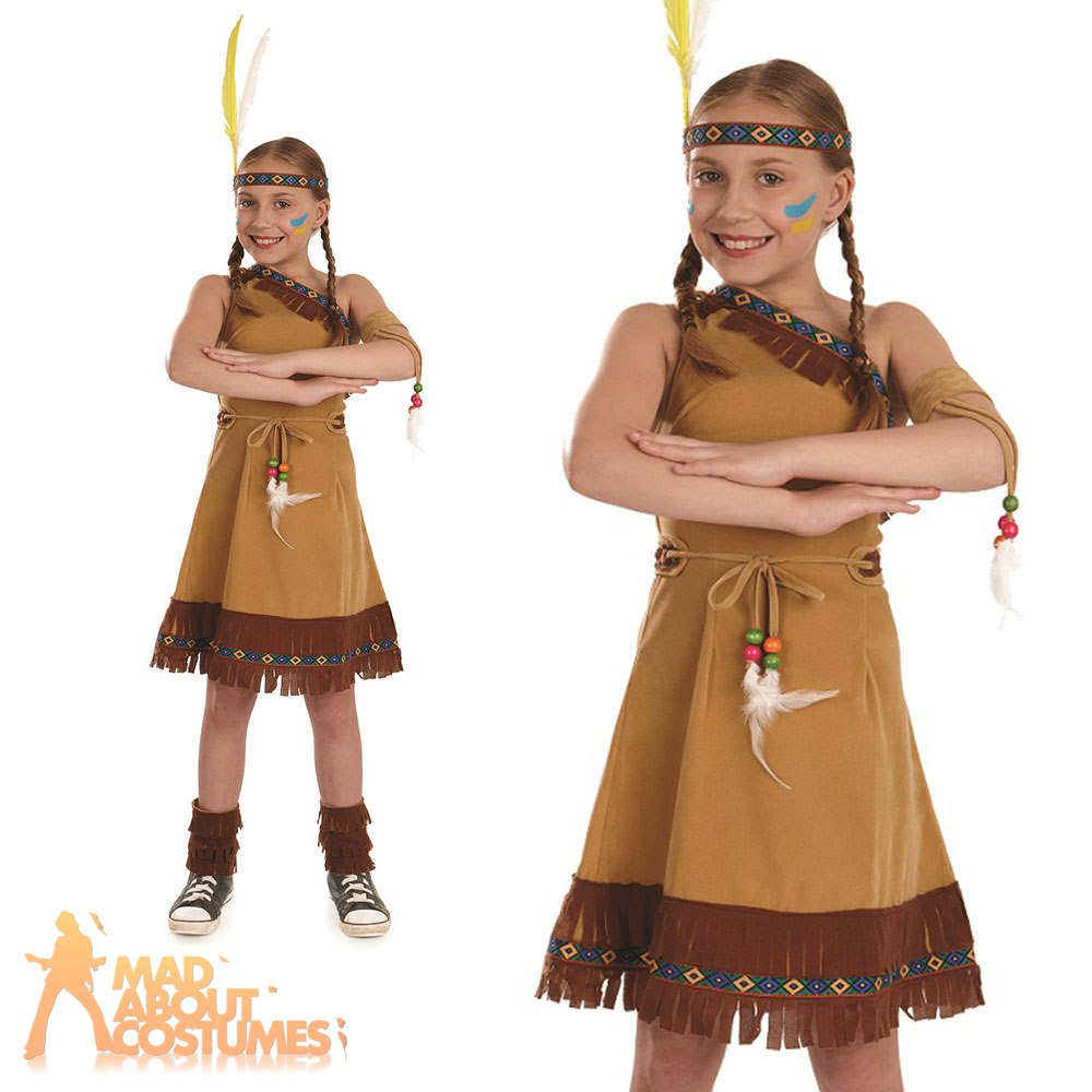 f443e091d5 Red Indian Girls Costume Native Squaw Girl Fancy Dress Book Week Day Outfit