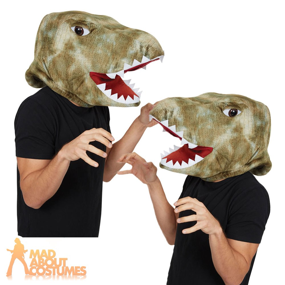 Adult Animals /& Nature Dinosaur Mascot Mask Fancy Dress Accessory