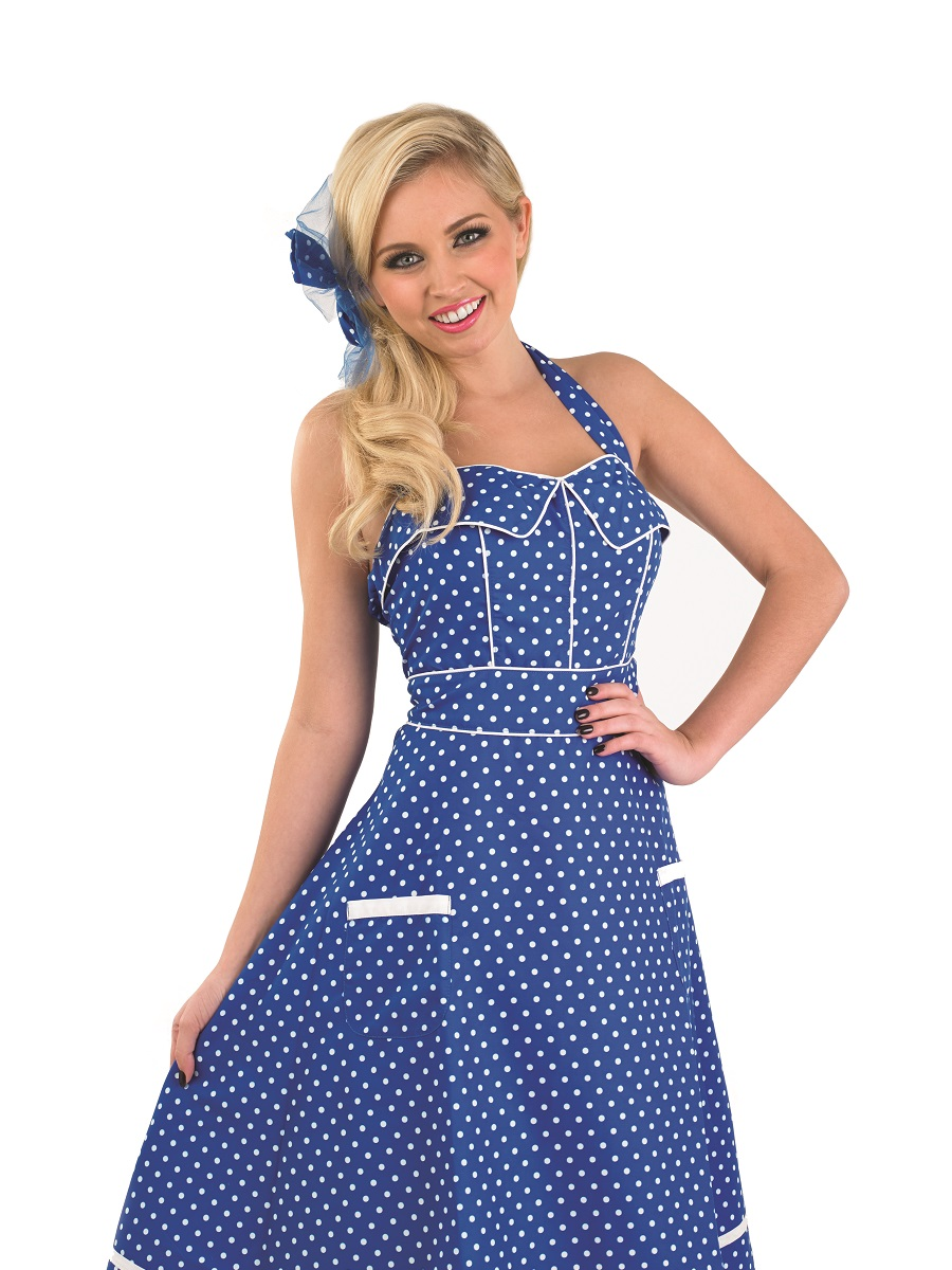 d7294b552a2d Adult Ladies 1950s Blue Dress Costume Womens 50s Polka Dot Fancy Dress  Outfit 2 2 of 3 See More