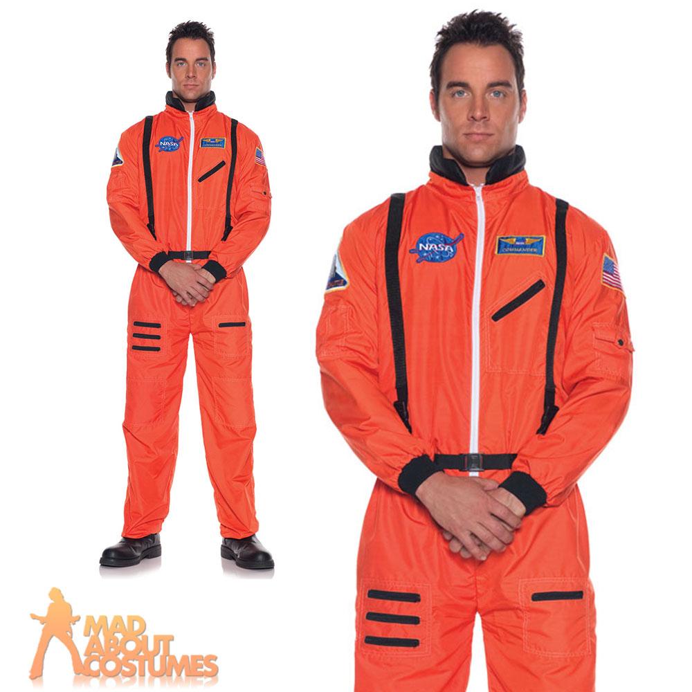 Adult Astronaut Costume Orange Nasa Space Flight Suit Mens Fancy