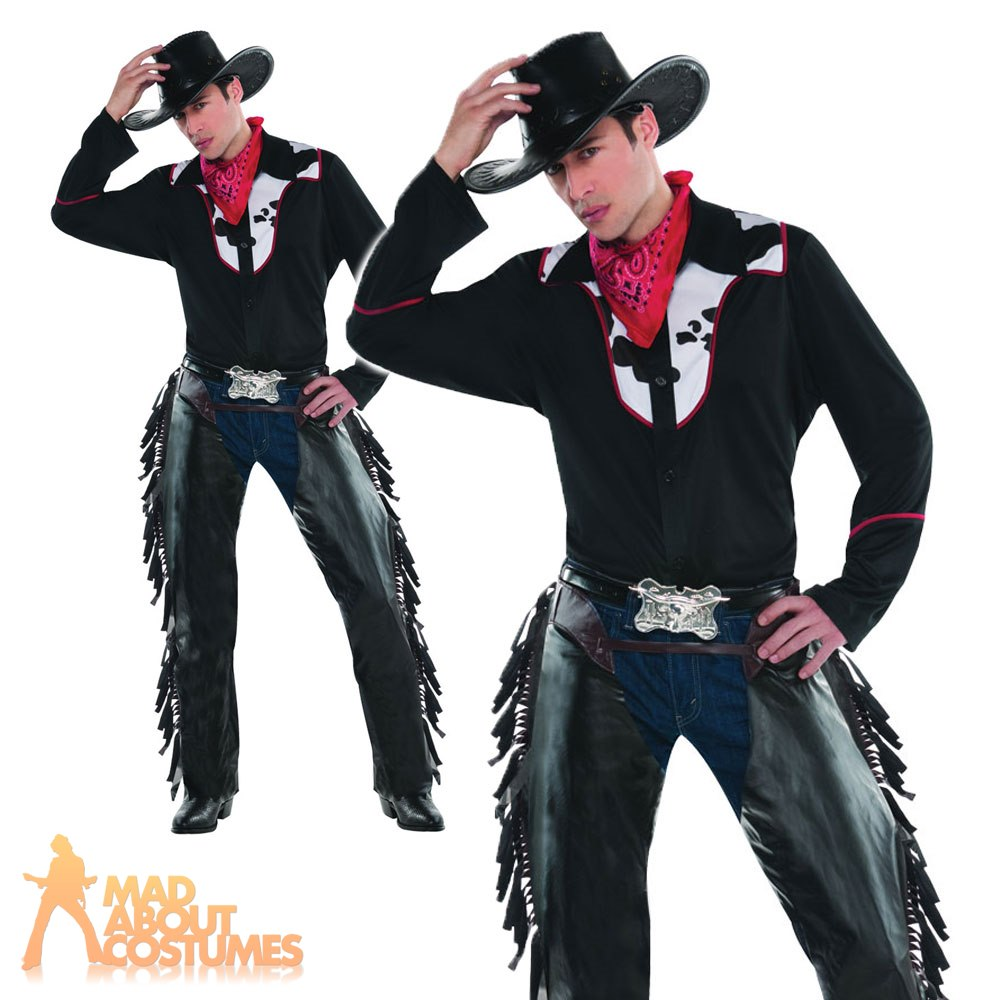 Western Rodeo Chaps Fancy Dress Halloween Costume NEW Wild West Cowboy