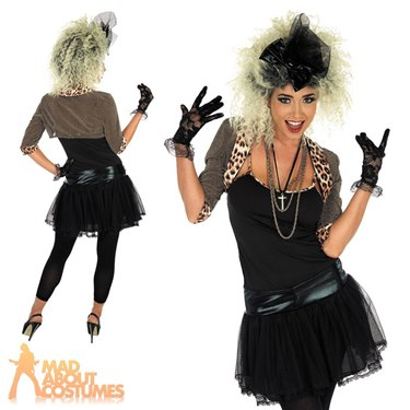80's Pop Star Fancy Dress Costume (Black) by Fun Shack