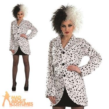 Adult Dalmatian Jacket Fancy Dress Costume by Fun Shack  sc 1 st  eBay & Adult Cruella Dalmatian Print Jacket Costume Evil Ladies Book Day ...