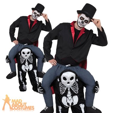 Skeleton Outfit Halloween.Details About Adult Ride On Skeleton Costume Halloween Lift Me Up Fancy Dress Outfit