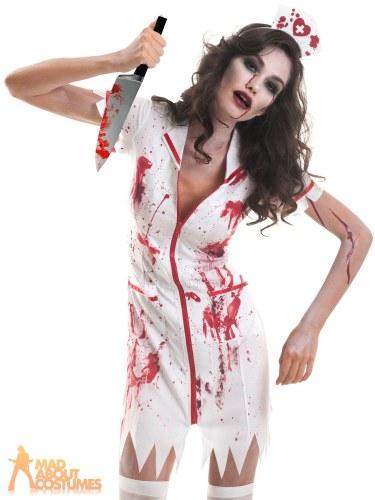 15355d3da8097 Adult Zombie Nurse Costume Ladies Halloween Horror Scrub Womens ...