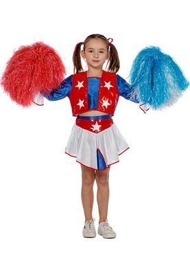 Child Cheerleader Fancy Dress Costume by Wilbers Karnival  sc 1 st  eBay & Child Cheerleader Costume Girls School Sport Uniform Fancy Dress ...