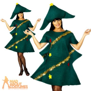 Adult Christmas Tree Costume Ladies Novelty Xmas Tree Fancy Dress