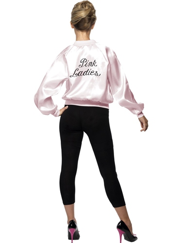 Womens Girls Pink Ladies Jacket 1950s 50s Grease Adult Fancy Dress ...