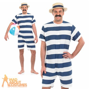 Adult Old Time Bathing Suit Fancy Dress Costume by Fun Shack