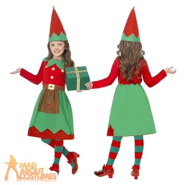 9ee978c05 Details about Girls Elf Costume Child Christmas Santas Little Helper Fancy Dress  Kids Outfit