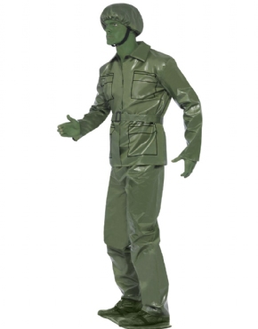 Mens Army Fancy Dress Green Story Outfit Plastic Man Stag Toy Soldier Costume